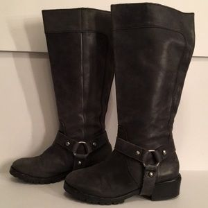True Religion Tall Gray Motorcycle Boots